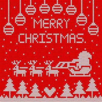 Gebreide vrolijke kerstmis op rood ontwerp als achtergrond.