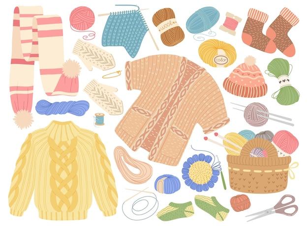 Gebreide warme winterkleding sjaal trui sok hoeden platte cartoon gebreide set