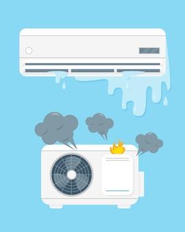 Gebroken airconditioner vecor illustratie op blauwe achtergrond.