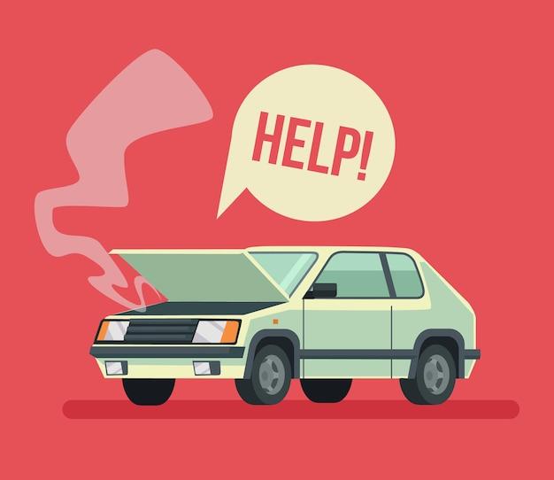 Gebroken auto verkeersongeval auto met open kap, platte cartoon afbeelding