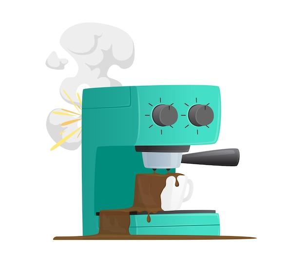 Gebroken geïsoleerde koffiezetapparaat