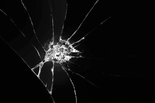 Gebroken glas achtergrond vector op zwart