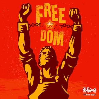 Gebroken handboei het symbool van de vrijheidsrevolutie