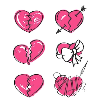 Gebroken hart dat op witte achtergrond wordt geplaatst. handgetekende illustratie.