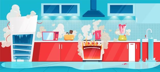 Gebroken keuken illustratie