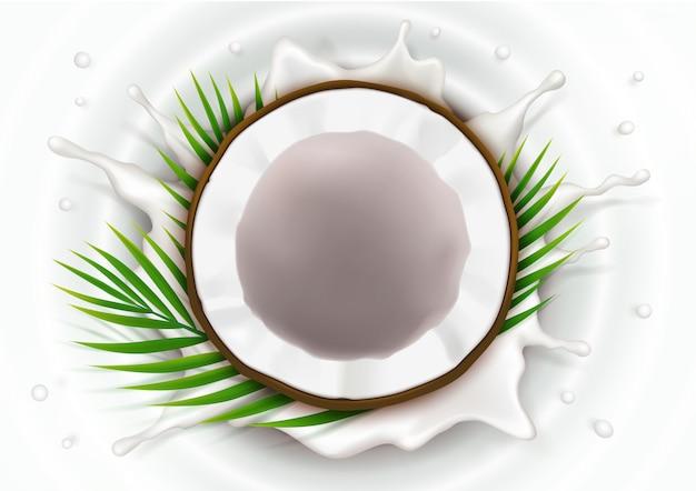 Gebroken kokosnoot in melkspatten