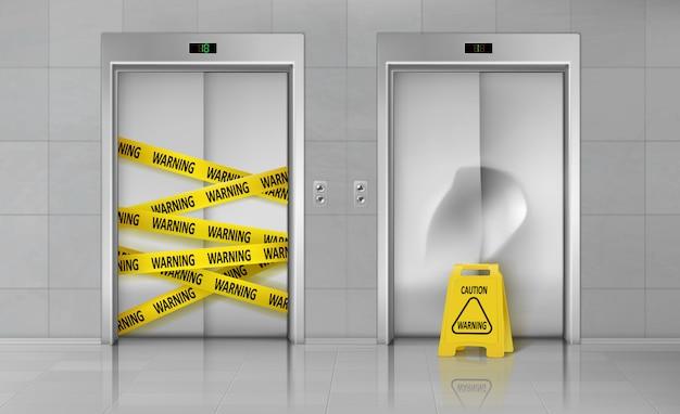 Gebroken lift gesloten voor reparatie realistische vector