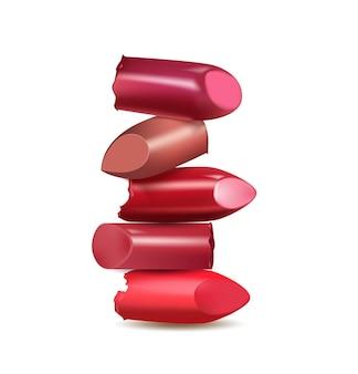 Gebroken lippenstift make-up geïsoleerd op een witte achtergrond vector template