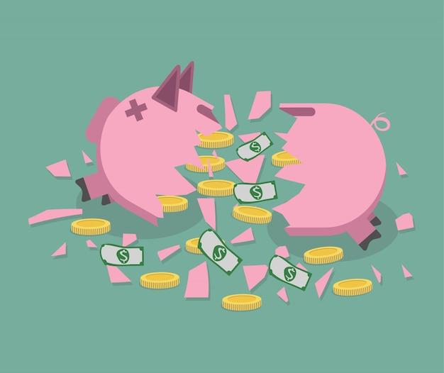 Gebroken spaarvarken met geld