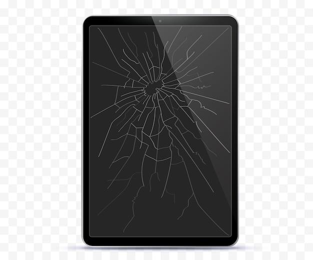 Gebroken tablet computer scherm vectorillustratie met transparante achtergrond