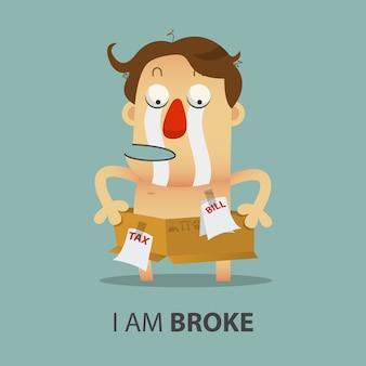 Gebroken zakenman heeft geen geld met kartonnen doos.
