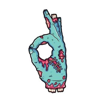 Gebroken zombiehanden maken een handtekening oke.