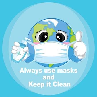 Gebruik altijd maskers en houd het schoon advies offerteontwerp. coronavirus posterontwerp.