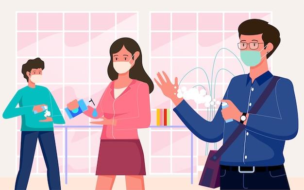 Gebruik buitenshuis handdesinfecterend middel en houd een masker op