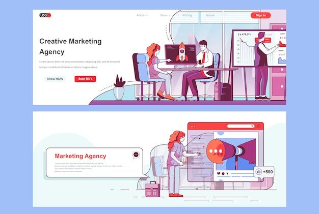 Gebruik de sjabloon voor bestemmingspagina's van een creatief marketingbureau als koptekst