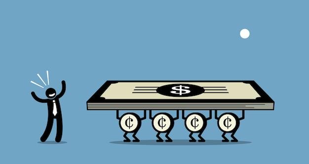 Gebruik geld om meer geld te verdienen. kunstwerk toont een zakenman die zijn geld gebruikt om voor hem te werken.