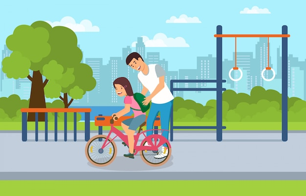 Gebruik gemeenschappelijk stedelijk gebied door kinderen en volwassenen.