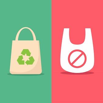 Gebruik milieuvriendelijke tas