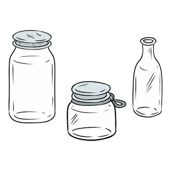 Gebruik minder plastic glazen kleurrijke potten. ecologische en zero-waste flessen doodle afbeelding. ga groen