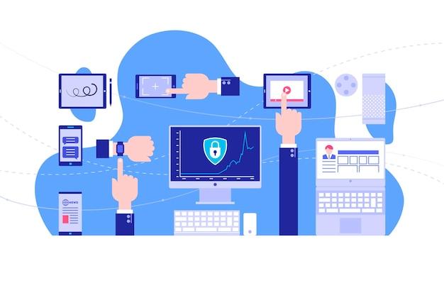 Gebruik van gadgets. internet beveiliging. heldere achtergrond. platte stijl. vector illustratie.