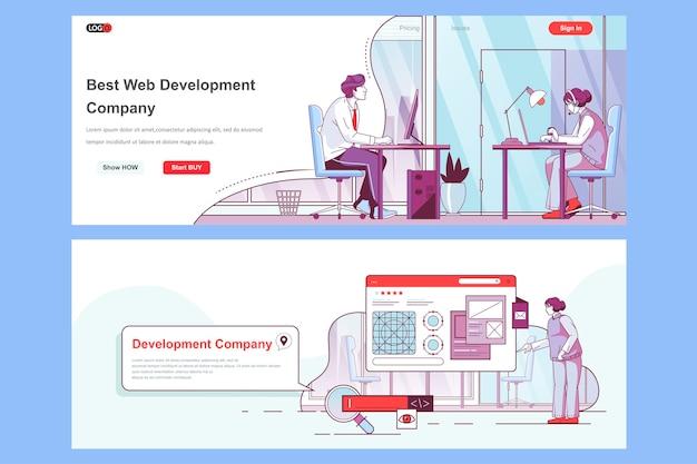 Gebruik van sjabloon voor bestemmingspagina's van webontwikkelingsbedrijven als koptekst