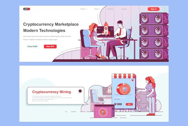 Gebruik van sjabloon voor bestemmingspagina's voor cryptocurrency-marktplaatsen als koptekst