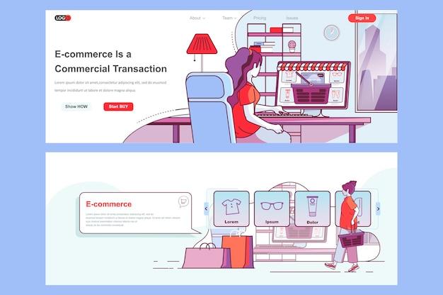 Gebruik van sjabloon voor bestemmingspagina's voor e-commerce als koptekst