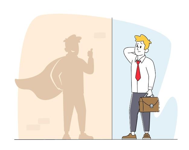 Gebruikelijke office manager kijk naar shadow on wall stel je voor dat hij een succesvolle zakenman is in super hero cape