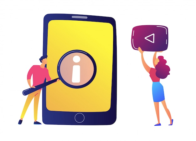 Gebruiker die met meer magnifier gebruikersgids op tablet en video vectorillustratie bekijken.