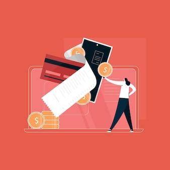 Gebruiker doet online betaling vanuit huis, betaalt online. online geld transactie concept. betaling op internet illustratie