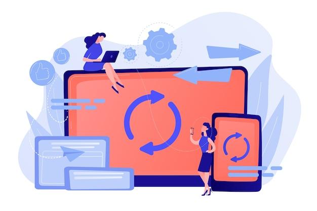 Gebruiker met synchronisatie van laptop en smartphone. synchronisatie tussen verschillende apparaten, synchronisatie tussen apparaten en bedieningsconcept pinkish coral bluevector isolated illustration