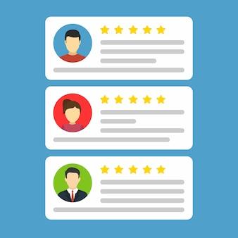Gebruiker reviews. vlakke stijl vectorillustratie