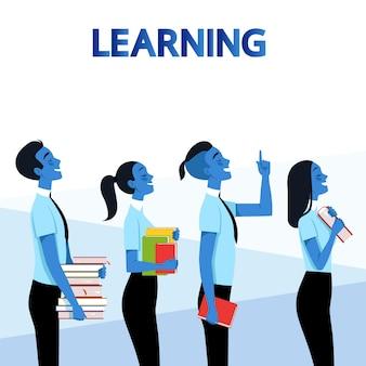 Gebruikers met boeken over leren.