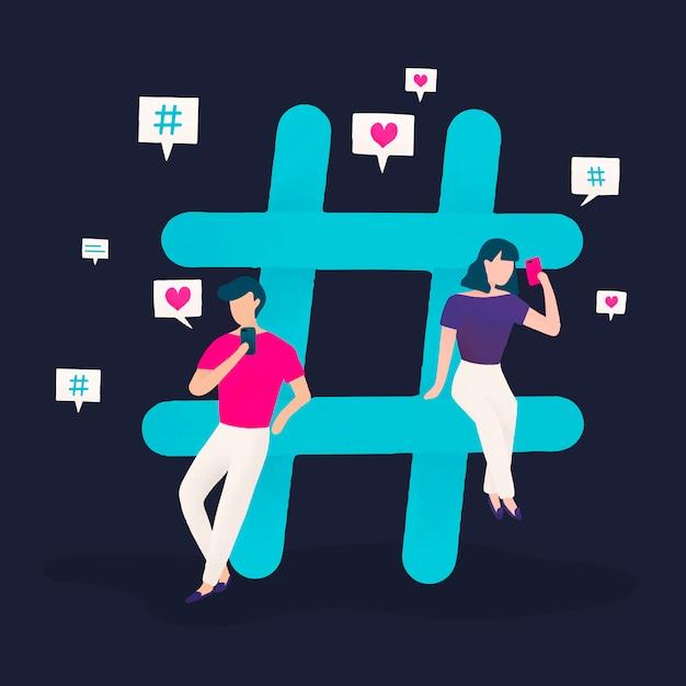 Gebruikers met een hashtag-vector