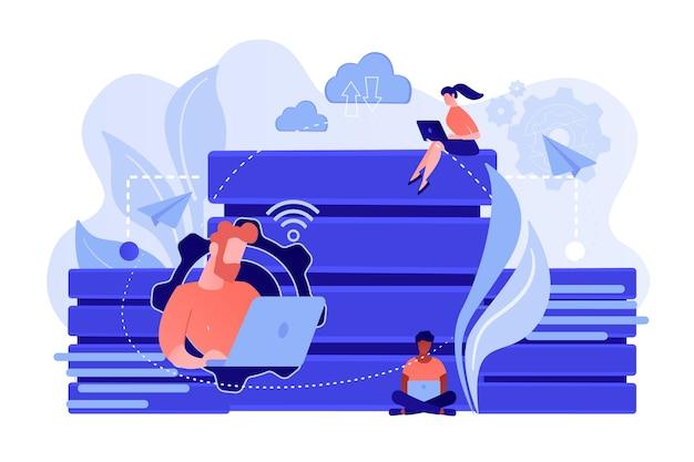 Gebruikers met laptops die met database werken. gegevensopslag en -organisatie, toegang tot en beheer van informatie, concept van big data-bescherming. vector geïsoleerde illustratie.