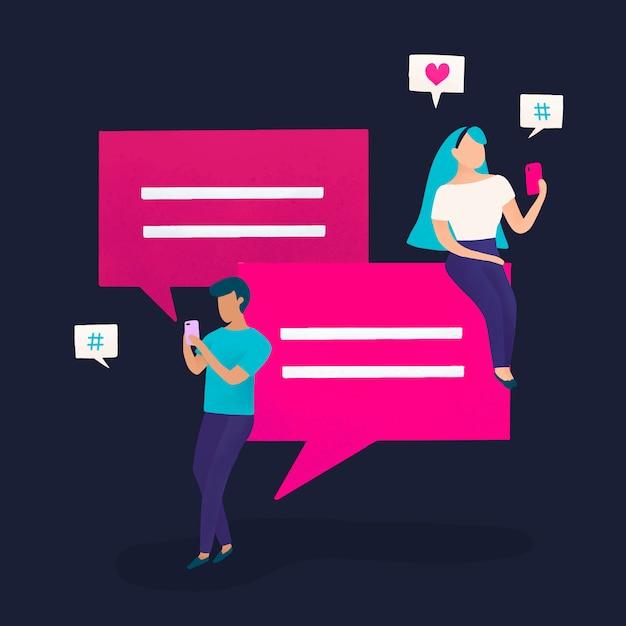 Gebruikers met spraak bubbels vector