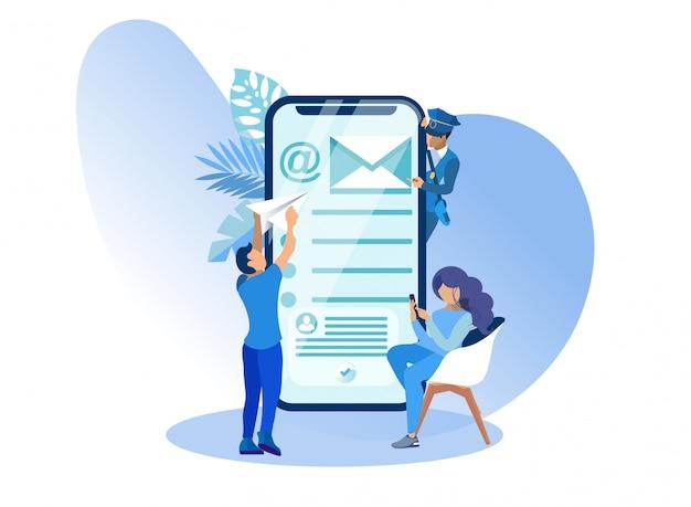 Gebruikers van de moderne mobiele e-mail e-mail cartoon.