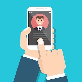 Gebruikerscontacten in smartphone. binnenkomend telefoongesprek. vector illustratie.