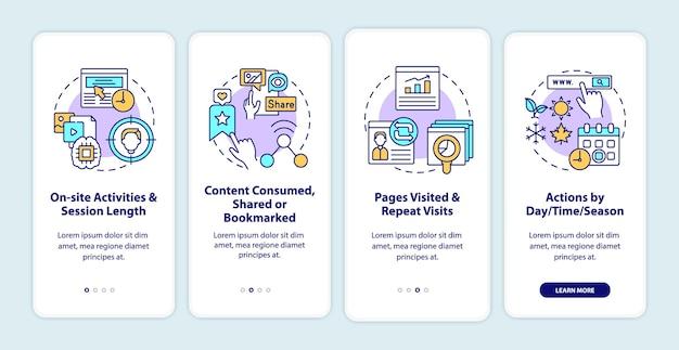 Gebruikersgedraganalyses onboarding mobiele app-paginascherm met concepten. doorloop van de activiteiten ter plaatse in 5 stappen grafische instructies.