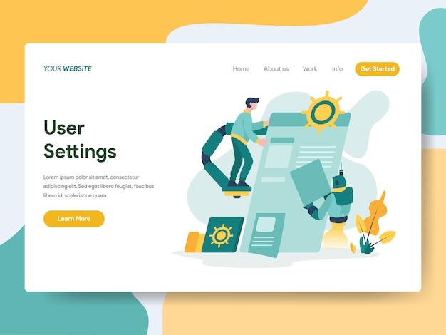 Gebruikersinstellingen voor website-pagina