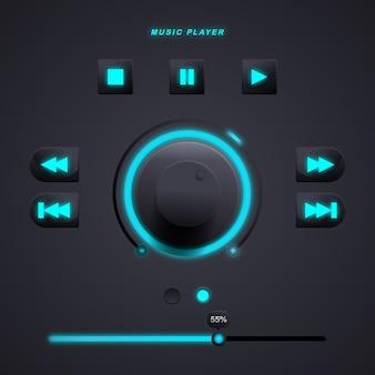 Gebruikersinterface-elementen voor de mobiele app van de muziekspeler met blauwe luchtkleur. premie