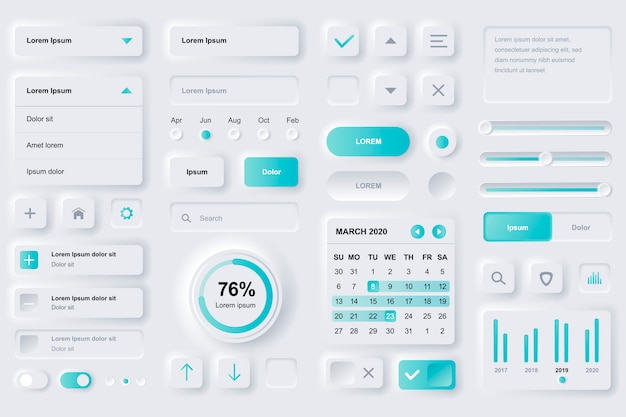 Gebruikersinterface-elementen voor financiële mobiele app. financiële analyse, tijdbeheer en planning van gui-sjablonen. unieke neumorfe ui ux-ontwerpkit. beheer, navigatie, zoekformulier en componenten.