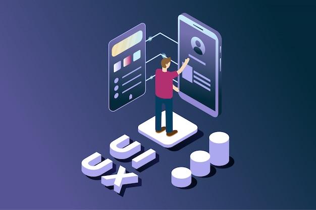 Gebruikersinterface en ontwikkelaar van gebruikerservaringen in isometrisch
