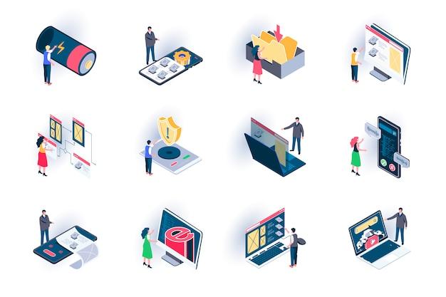 Gebruikersinterface isometrische pictogrammen instellen. websites ontwerpen en ontwikkelen vlakke afbeelding. adaptieve lay-out, prototyping en visuele inhoudsorganisatie 3d-isometriepictogrammen met personages
