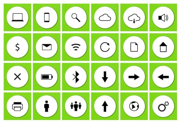 Gebruikersinterface technologie zwarte vector icon set op witte cirkel voor ui webapplicatie