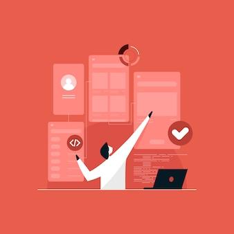 Gebruikersstroomtesten en ui ux-interfaceontwerpconcept