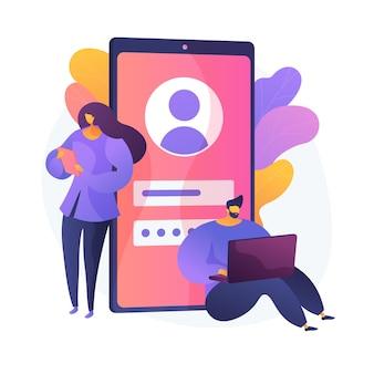 Gebruikersverificatie. preventie van ongeoorloofde toegang, authenticatie van privéaccounts, cyberbeveiliging. mensen die login en wachtwoord invoeren, veiligheidsmaatregelen.