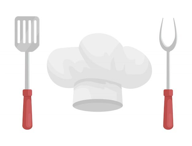 Gebruiksvoorwerp en hoed van chef-kok, cartoonstijl