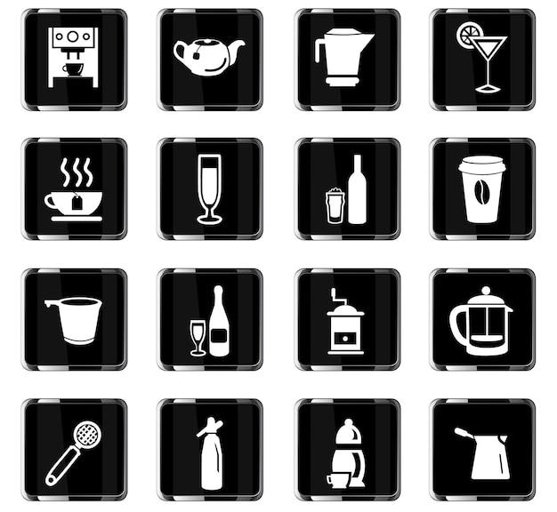 Gebruiksvoorwerpen voor dranken vectorpictogrammen voor gebruikersinterfaceontwerp