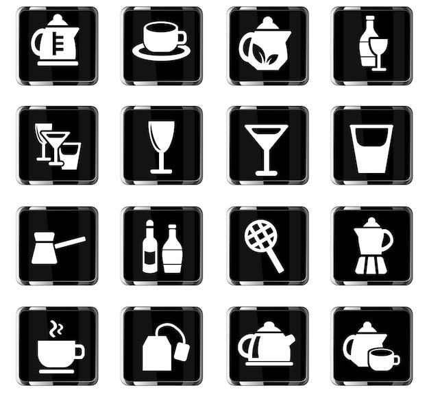 Gebruiksvoorwerpen voor dranken webpictogrammen voor gebruikersinterfaceontwerp